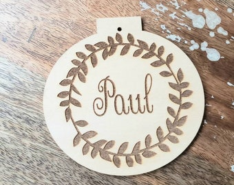 Bulk Personalized Custom Name Ornament Wooden Birch Wood Tree Christmas Ornaments Gift Tag Customizable