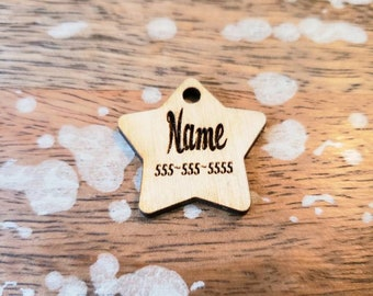Star Shape Pet ID Tag Custom Birch Wood Personalized Script Wooden 1.5 Inch 2 Inch Light Laser Cut Dog Cat Leash Collar Charm Goth Font
