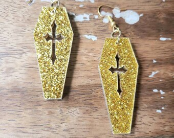 Gold Glitter Acrylic Cross Coffins Earrings Torture Couture Gothic Goth Vampire Vampyre Vamp Wood coffin graveyard mortician cemetery