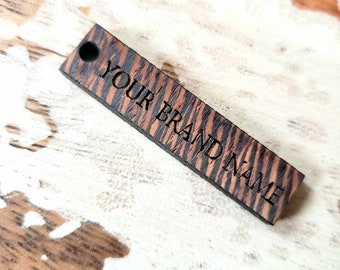 Hang Custom Tags Wenge Wood Personalized Laser Cut etched engraved clothing brand product wooden branding customized boho natural bohemian
