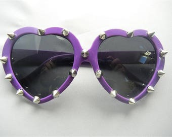 PURPLE Spiked Lolita Heart Shaped Sunglasses Torture Couture Gothic Goth egl Horror Pinup Emo Vampire Macabre