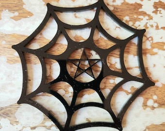 Spiderweb Pentacle Snowflake Ornament Torture Couture Gothic Horror Goth Acrylic Lolita Star Witch Christmas Xmas Occult Ornaments Web