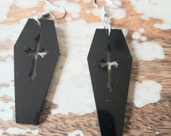 Black Acrylic Cross Coffins Earrings Torture Couture Gothic Goth Vampire Vampyre Vamp Wood Dracula coffin graveyard mortician cemetery