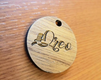 Circle Shape Pet ID Tag Walnut Wood Personalized Script Wooden Laser Cut Collar Charm Script Font Circular
