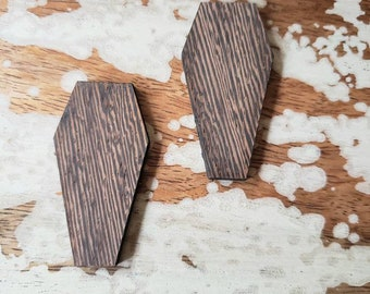 Wooden Coffin Shape Studs More Colors Earrings Gothic Goth Horror Kawaii Lolita Graveyard Funeral Coffins