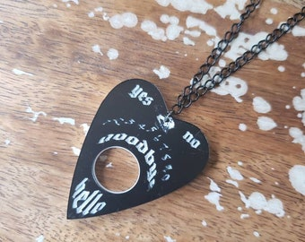Black White Planchette Necklace Ouija Medium Size Horror spirit board Etched Laser Cut Occult Engraved