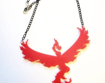 Team Valor Necklace Pendant Red Pokemon inspired kawaii lolita gamer app pikachu go trainer