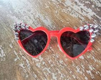 Narrow Spiked Heart Shaped Sunglasses MORE Colors Sunnies Torture Couture Spike  Eyewear Sunblock  Gothic Goth Lolita Kawaii Pinup Festival