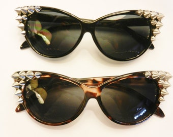 CATEYE Black or Leopard Spiked cat eye Sunglasses Torture Couture summer chic gothic goth horror sunnies punk metal burning man festival