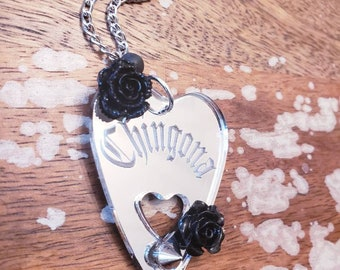 Silver Mirrored Chingona Planchette Necklace Ouija Medium Size Horror spirit board Etched Laser Cut Occult