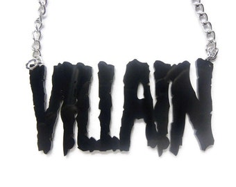 VILLAIN BLACK necklace silver chain Torture Couture monster squad gothic goth slasher gore blood bloody squad wolfpack tortured