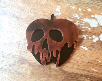 Marbled Tortoise Apple Pin Brooch Acrylic Torture Couture Horror Fairytale Storybook Evil Queen Snow White Disney inspired Poisonous