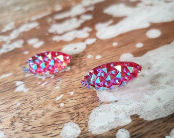 Red Teardrop Galactic Iridescent Teardrop Stud Earrings Sparkle pinup burlesque showgirl kawaii