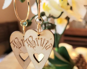 Birch Wooden BRUJA Witch Hoops Gothic gilded gold Metal Hoop Dangle Charms Removable Lolita Chicana Goth Birch Light Heart Ouija Planchette