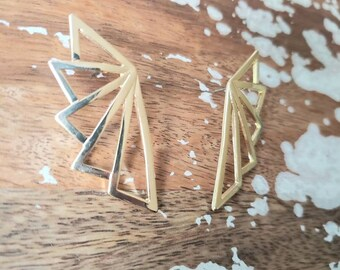 Geo Triangular Art Deco Studs Earrings Ahs Hotel Gold Color Gatsby architecture modern
