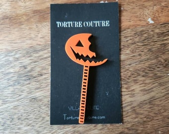 Sam Lollipop Acrylic Pin Orange Black Handmade Trick R Treat Horror Brooch Torture Couture Gothic Goth Lolita Halloween Anthology Gore