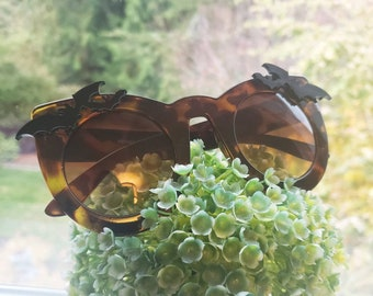 Nocturne Tortoise Oversize Cateye Sunglasses Bats Vampire Vamp Gothic Goth Bat Glossy more colors