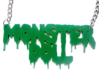 Monster Doll Green Drip Bleeding Necklace silver chain Torture Couture kawaii lolita goth gothic squad villain classic movie monsters