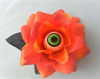 Orange Sunrise Eyeball Eye Rose Hair Flower Clip Torture Couture Horror Lolita Goth Gothic Halloween Floral Roses