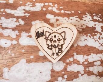 Aggretsuko Metal Feminist Wooden Brooch Pin Heart Laser Cut inspired anime animated thrasher lolita kawaii super secretary animal