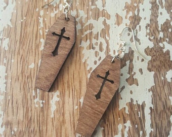 Wooden Cross Coffins Earrings Torture Couture Gothic Goth Vampire Vampyre Vampyr Vamp Wood Dracula coffin graveyard mortician cemetery
