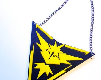 Team Instinct Necklace Pendant Yellow Black Pokemon inspired instinctual kawaii lolita gamer app pikachu