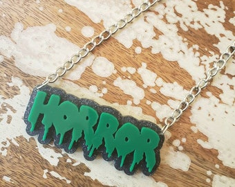 Custom Word Name Necklace, Horror Style