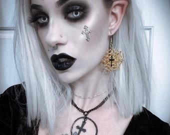 Spiderweb Goth Dangle Earrings