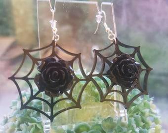 Rosa Oscura Earrings Spiderweb Rose