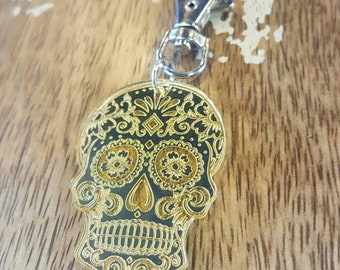 Mirrored Gold Sugar Skull Skeletal Day of the Dead Dia de Los Muertos coco Key Chain Torture Couture Handbag Clip Bag Charm