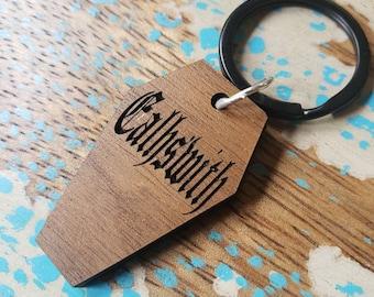 Coffin Pet ID Tag- Walnut Wood