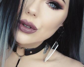 Rose Knife Silver Mirrored Earrings