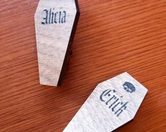 Customizable Name COFFIN Pin