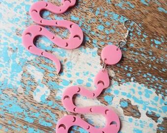 Moon Snake Earrings, Pink