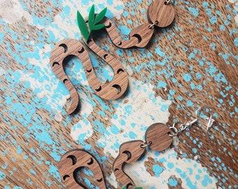 Moon Snake Earrings, Wooden