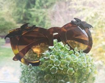 Nocturne Tortoise Oversize Cateye Sunglasses Bats Vampire Vamp Gothic Goth Bat Glossy more colors