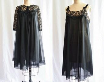 "1960s Peignoir Set | Gossard Artemis | Vintage 60s Black Nylon Floaty Robe with Matching Nightgown 60s Lingerie Boudoir 2 Piece Set Bust 38"""
