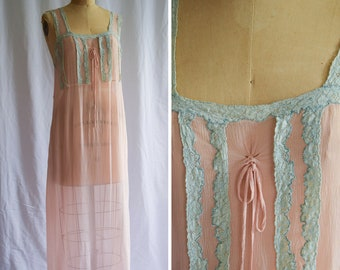 1920s Nightgown | Daphne | Vintage 20s Pink Silk Nightdress Sheer Crinkle Chiffon Mint Bobbin Lace Trim Bow Tie Flapper Gown Size M/L