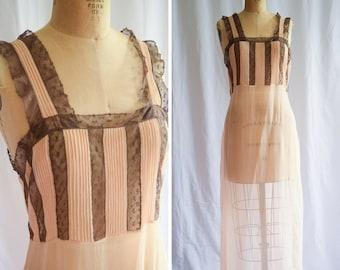 1920s Nightgown | Lillian | Vintage 20s Peach Silk Nightdress Sheer Crinkle Chiffon Brown Bobbin Lace Pintucks Flapper Gown Size M/L