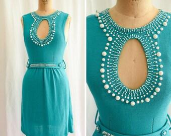 "1960s Dress | Palm Springs | Vintage Turquoise Knit Dress Fabulous White Beaded Large Keyhole Neckline Beaded Belt 60s Mini Dress Bust 32"" S"