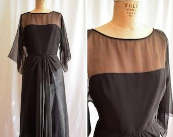 1970s Dress   LUIS ESTEVEZ    Vintage 70s Black Chiffon Cocktail Evening Dress Nude Illusion Sheer Sleeves Boho Gothic Stevie Nicks S/M