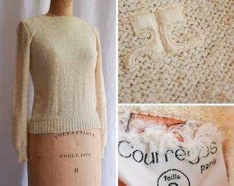 1970s Sweater   Courrèges   Vintage 70s Pullover Ivory Slub Knit Sweater Ribbed Crew Neck MOD Style Vintage Designer Made In France Size S/M