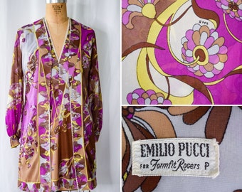 1960s Peignoir Set   Emilio Pucci for Formfit Rogers   Vintage 1960's Short Robe Matching Nightgown Psychedelic Print EPFR Signature Sz. S