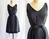 1960s Dress Peck and Peck Vintage 60 39 s Little Black Dress Silk Dupioni Cocktail Party Dress with Bow Audrey Hepburn Style Sz S M