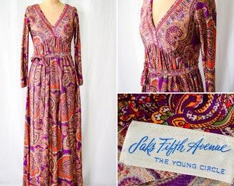 1960s 1970s Dress   Saks Fifth Avenue   Vintage Late 60s Early 70s Psychedelic Paisley Print Maxi Dress BOHO Hippy Purple Orange Gold Sz. S