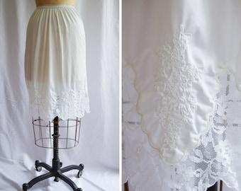 1960s Half Slip | Aristocraft | Vintage Petticoat White Nylon Tricot Lace Trim and Embroidery Scallop Hem Side Slit 60s Lingerie Size S