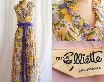 Vintage 1960s Dress   Miss Elliette   Vintage Late 60s Garden Party Long Floral Maxi Dress Sheer Cotton Lawn Ruffles Purple Sash Bow Sz. M
