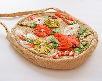 1960s Purse | Boho Travels | Vintage 60s Woven Straw Circle Bag with Raffia Flowers Front and Back Zip Closure Souvenir Purse Festival
