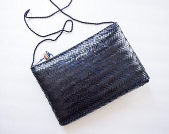 1980s Straw Purse | Deep Navy Vintage 80s Woven Wicker Cross Body Bag Herringbone Rattan BOHO Festival Clutch Zip Top Made in Philippines