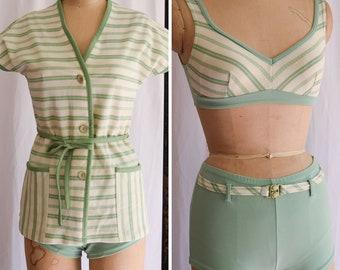 1960's Bikini and Cover Up | Gidget | Vintage 60s Swim Suit Three Piece Set Sage Green Stripes Bathing Suit Sun Suit 60s Surfer Girl Size S